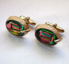 50s Swank Watermelon Rhinestone Cuff Links from MisterBibs Vintage on Etsy
