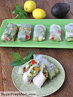 Chicken Avocado Salad Spring Rolls-low cal, low carb and amazing! sugarfreemom.com