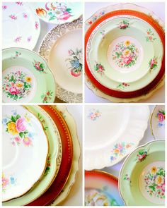 This is, like, my dream! Create a full set of dining dishes out of mismatched (but coordinating) vintage plates!