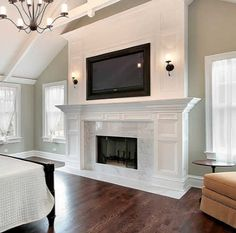 Master bedroom in luxury home with marble fireplace bedroom fireplace Marble Contact Paper Fireplace Makeover (on a budget! Bedroom Fireplace, Home Fireplace, Fireplace Remodel, Fireplace Design, Simple Fireplace, Fireplace Ideas, Master Bedroom Redo, Farmhouse Master Bedroom, Home Bedroom