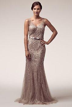 Elegantly beaded sequins plunging neckline, with open back and belt evening dress