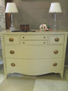 Pretty vintage Chest of Drawers painted with Annie Sloan Chalk Paint® in Country Grey by Patti at Sweet Pea's