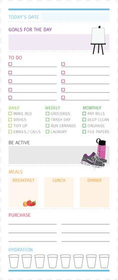"Really love this ""to do list"" printable from LauraLikesDesign - which includes daily goals, fitness check list, hydration, meal plans, and more!"