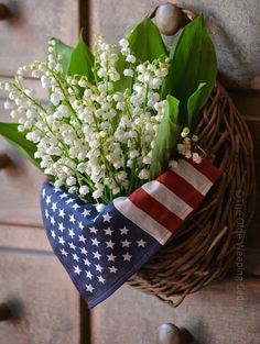 July 2 Patriotic Floral Arrangement for Memorial Day, Fourth of July, or Veteran's Day - Red, White & Blue! Lily of the valley - Muguet ❧ Fourth Of July Decor, 4th Of July Decorations, 4th Of July Party, July 4th, Memorial Day Decorations, Happy Birthday America, Patriotic Crafts, Patriotic Wreath, Veterans Day