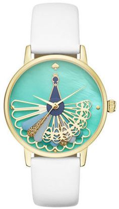 Kate Spade New York Critter Metro Leather Strap Watch