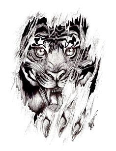 Tiger Tattoo Designs | ... tattoo by shellvia blackthorn. Cool idea with it coming  Out of your skin