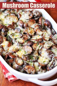 Deliciously cheesy mushroom casserole is wonderfully flavored with onions, thyme, and melted gruyere. Deliciously cheesy mushroom casserole is wonderfully flavored with onions, thyme, and melted gruyere. Healthy Casserole Recipes, Vegetarian Recipes, Healthy Mushroom Recipes, Keto Recipes, Mushrooms Recipes, Seafood Recipes, Mushroom Meals, Vegetarian Casserole, Recipe With Mushrooms