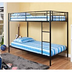 Boys Room: Twin-Over-Twin Metal Bunk Bed, Black