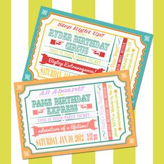 This could work for a vintage carnival party or a vintage train party! Cute ticket idea...