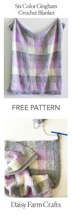 Six Gingham Crochet Blanket - Daisy Farm Crafts
