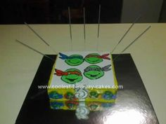 Homemade TMNT Birthday Cake: My boyfriend's son has become a big fan of the Teenage Mutant Ninja Turtles.  For his 3rd birthday I decided I was going to make him a TMNT birthday cake,