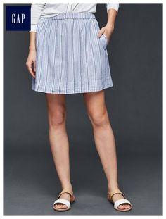 Linen stripe mini skirt