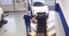 He tried to steer the car into the service shaft but he wouldn't VIDEO Car-Motor Car Ins, Motor Car, Small Space, Small Spaces, Car, Automobile