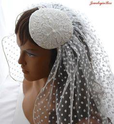 Bridal Shimmery Polka Dot Veil in Ivory by JewelryinBox on Etsy, $75.00