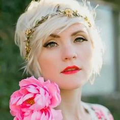 Long Pixie Hairstyle with Flowered Headband