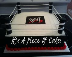Wrestling Ring, Buttercream icing, I painted the logo with BC also onto Wilton black sugar sheet Wrestling Birthday Cakes, Wrestling Cake, Wrestling Party, Wwe Cake, Wwe Lucha, Wwe Party, Sugar Sheets, Ring Cake, Cakes For Boys