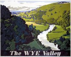 Railway Travel Poster produced by Great Western Railway GWR to promote rail travel to the Wye Valley Hereford and Worcester Artwork by Frank Newbould Posters Uk, Railway Posters, Valley Landscape, British Travel, National Railway Museum, Great Western, Vintage Travel Posters, Poster Size Prints, Fine Art