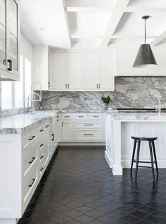 and Cons: Kitchen FlooringBECKI OWENS See beautiful inspiration shots and learn the pros and cons of choosing tile, concrete, or wood kitchen floors before you start your own kitchen refresh. Black Kitchens, Cool Kitchens, Kitchen Black, French Kitchen, Interior Design Kitchen, Home Design, Design Ideas, Floor Design, New Kitchen