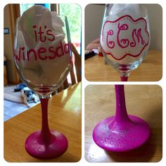Monogram pink hand painted wine glass