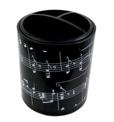 Round Plastic Pen Holder – Musical Staves & Notes | musical gifts online