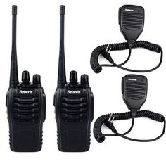 Retevis H-777 Funkgerät UHF 400-470MHz 16 Kanäle VOX CTCSS / DCS Codierbar mit Lautsprecher 1500mAh Li-Ion-Akku Walkie Talkie (2 Stücke, Schwarz)