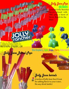 "Edible ""Jolly Ranchers Pops"" by Dank Delights Inc. Jolly Rancher Pops, Jolly Rancher Flavors, Weed Recipes, Marijuana Recipes, Medical Benefits Of Cannabis, Medical Marijuana, Cannabis Edibles, Puff And Pass, Mental Health Awareness Day"