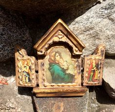 A personal favorite from my Etsy shop https://www.etsy.com/listing/469733265/vintage-madonna-child-triptych-3-panel