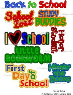 School Titles Cutting File  www.scraptasticalkreations.com