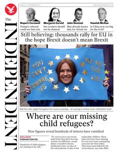 """""""Sunday's Independent digital: Where are our missing child refugees? Missing Child, News Online, Bbc News, Sunday, Digital, Children, September, Twitter, Young Children"""