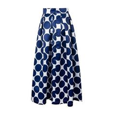 Rotita Blue Dot Print Pleated Maxi Skirt ($25) ❤ liked on Polyvore featuring skirts, blue, long satin skirt, satin maxi skirt, pleated skirt, long skirts and blue pleated skirt
