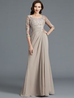 51a1a743368f A-Line Princess Sleeves Scoop Applique Chiffon Floor-Length Mother of the  Bride Dresses