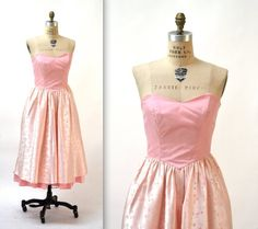 ddeb0ae7 Vintage 80s does 50s Pink Prom Dress Size Small// 80s Pink Party Dress with  Crinoline Skirt// Vintage Strapless Pink Bridesmaid Dress Small