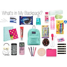 """What's in My Backpack"" by thelemondepartment on Polyvore"