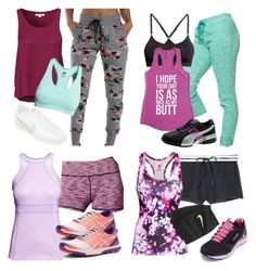 Alison Dilaurentis inspired workout outfits by liarsstyle on Polyvore featuring Glamorous, H&M, Victoria's Secret, NIKE, Fila, Puma, Asics and workout