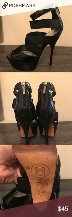 Bebe Strappy Pump Parent Leather Beautiful pumps from Bebe. Patent leather material. Lots of straps for a sexy look! Open toe with a pretty zipper back. Ankle strap! Great condition.  *SMOKE FREE AND PET FREE HOME  *Extremely quick shipping   *Thank you for your support! bebe Shoes Heels