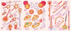 Sailor Moon's Items and Weapons for all 5 arcs After drawing the items and weapons for my Earth Guardian Mamoru comic, I decided to do the originals as well. Here are all of Usagi's magi...