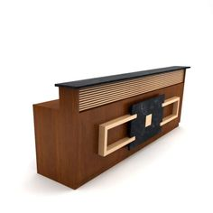 Brown wooden table reception desk 05 by Evermotion. This highly detailed model of reception des Office Counter Design, Cash Counter Design, Reception Counter Design, Office Reception Design, Modern Reception Desk, Office Table Design, Medical Office Design, Showroom Interior Design, Wooden Tables