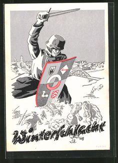 old postcard: Künstler-AK Winterschlacht, Wehrmachtssoldat mit Schwert und Schild bekämpft Russen