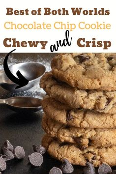 BEST Thin and Crispy Chocolate Chip Cookies! This from easy from scratch recipe makes the yummiest homemade cookies. Best Chocolate Chip Cookies Recipe, Homemade Cookies, Crispy Cookies, Cookie Recipes, Bar Recipes, Dessert Recipes, Desserts, Biscuit Recipe, Sweet And Salty