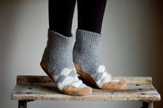 Women Slipper Socks Wool House Slippers size 65 by WoolyBaby, $88.00