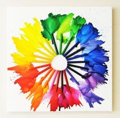 Melted crayon color wheel,   http://hative.com/creative-color-wheel-project-ideas/
