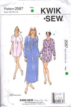 Kwik Sew 2587 Misses Easy Pullover Nightgown Lounging Dress Raglan Sleeves and shaped hemline womens sewing pattern  by mbchills