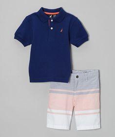 Take a look at the Nautica Tanzanite Polo & Blue Stripe Shorts - Toddler & Boys on today! Little Boy Fashion, Tween Fashion, Baby Boy Outfits, Kids Outfits, Polo Outfit, Polo Blue, Baby Kids Clothes, Striped Shorts, Toddler Boys