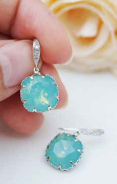 Pacific Opal Swarovski Crystal Teardrop Earrings