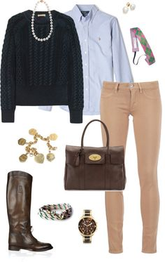 Casual by americanhorse featuring a gold heart charm ❤ liked on PolyvoreBurberry sweater, $175 / MiH Jeans beige skinny jeans, $240 / Gucci boots, $1,310 / Tiffany & Co. gold heart charm / Michael Kors oversized watch / Cobra & Bellamy hook necklace, $1,115 / Earrings, $800 / Hair accessory / Polo Ralph Lauren Blue Oxford Custom Fit Shirt / Charted Castaway from Kiel James Patrick