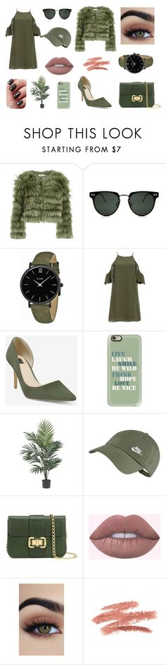 """""""Greeny"""" by trsca on Polyvore featuring Alice + Olivia, Spitfire, CLUSE, DailyLook, White House Black Market, Casetify, Nearly Natural, NIKE and Monique Lhuillier"""