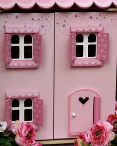 My First Dreamhouse - This gorgeous house is fully painted and decorated with heart motif opening shutters and windows – size 440 wide x 350 deep x 630 high. Shutters, Kids Toys, Furniture Sets, Windows, Deep, Heart, Frame, House, Painting