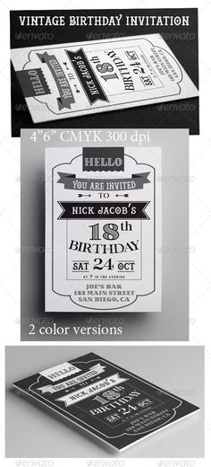 Vintage Birthday Invitation Template PSD | Buy and Download: http://graphicriver.net/item/vintage-birthday-invitation/8531784?WT.ac=category_thumb&WT.z_author=annago&ref=ksioks
