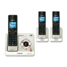 VTech DECT Expandable Cordless Phone with Answering System and Caller ID/Call Waiting, Silver with 2 Handsets - Cordless - 1 x Phone Line - 3 x Handset - Speakerphone - Answering Machine - Backlight Telephone Line, Cordless Telephone, Caller Id, Dim Lighting, Intercom, Best Phone, Digital Technology, Landline Phone, Ebay