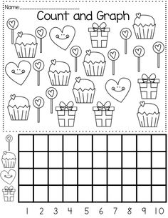Valentine's Day themed math and literacy activities mathematics Graphing Worksheets, Graphing Activities, Kindergarten Math Worksheets, Preschool Math, Worksheets For Kids, Maths, Valentines Day Activities, Activity Centers, Classroom